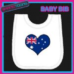 AUSTRALIA HEART FLAG I LOVE WHITE BABY BIB EMBROIDERED